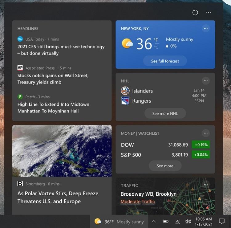 Появились подробности о виджете «Новости и интересы» панели задач Windows 10