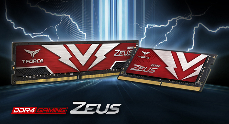 Модули памяти TeamGroup T-Force Zeus DDR4 U-DIMM и SO-DIMM украшены молниями