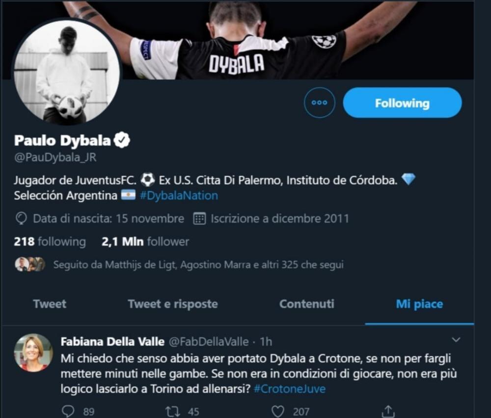 Дибала лайкнул твит с текстом: «Смысл везти Пауло в Кротоне, если он не сыграл ни минуты?»